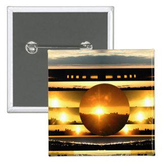 SOLAR SYSTEM:   SUN SET: Golden Healing Energy Pinback Button
