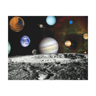 Solar System Voyager Images Montage Space Photos Canvas Print