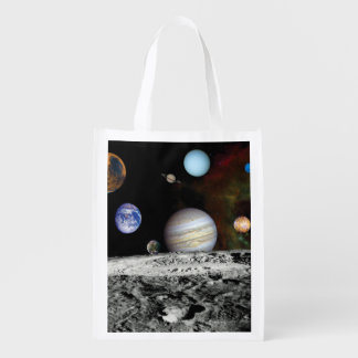 Solar System Voyager Images Montage Space Photos Reusable Grocery Bag