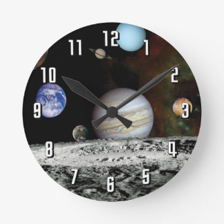 Solar System Voyager Images Montage Wallclock