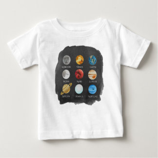 Solar System Watercolor Baby TShirt