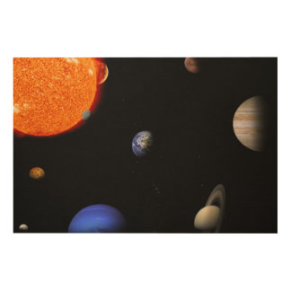 Solar system wood wall art