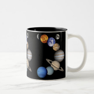 Solar Sytem Montage Two-Tone Coffee Mug