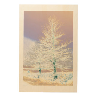 Solarised Trees in the Snow. Wood Print