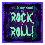 Sold My Soul For Rock N Roll Purple Green Blue Print