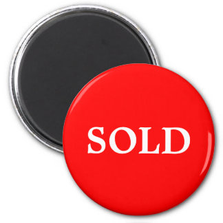 SOLD Real Estate Agent or Retail Sign Marker Red W 2 Inch Round Magnet