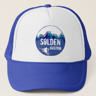 Solden Austria blue ski art blue hat