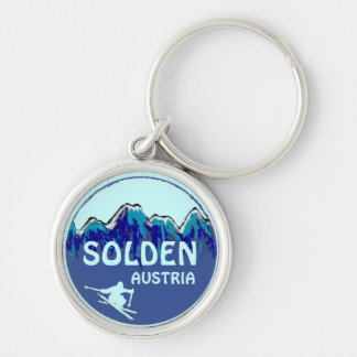 Solden Austria blue ski art logo keychain
