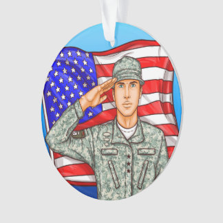 Soldier and American Flag - Appreciation Ornament