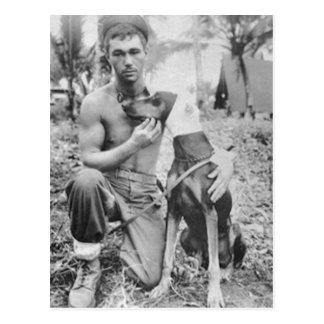 Soldier and Dog Postcard