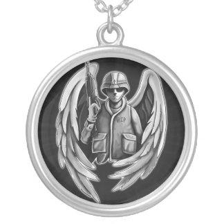 Soldier Angel Design Round Pendant Necklace