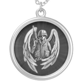 Soldier Angel Design Silver Plated Necklace
