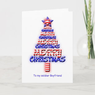 soldier boyfriend patriotic christmas tree holiday card