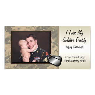 Soldier Daddy Birthday Custom Personalized Picture Card