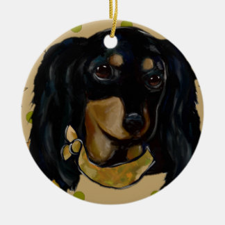 Soldier  Doxie Ceramic Ornament