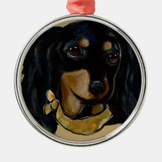 Soldier  Doxie Metal Ornament