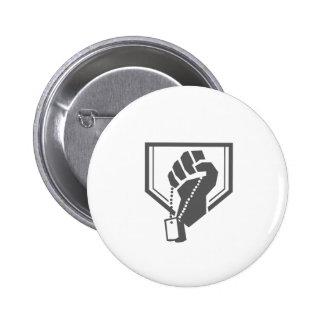 Soldier Hand Clutching Dogtag Crest Retro 2 Inch Round Button