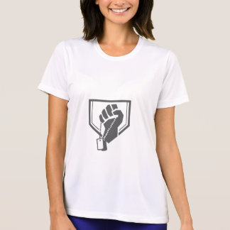 Soldier Hand Clutching Dogtag Crest Retro T-Shirt