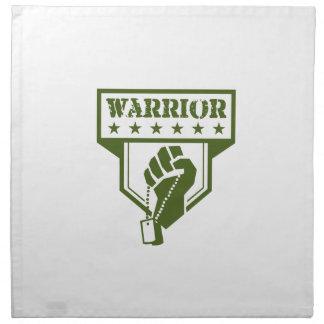 Soldier Hand Clutching Dogtag Warrior Crest Retro Napkin