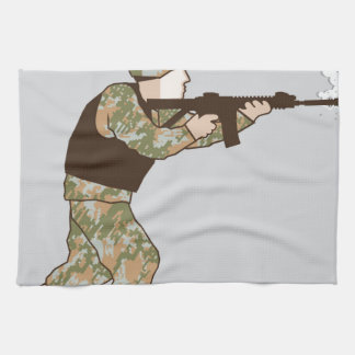 Soldier in action kitchen towel