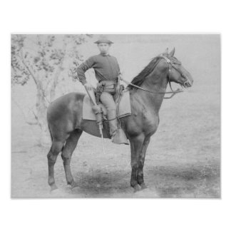 Soldier on His Horse in South Dakota Photograph Poster