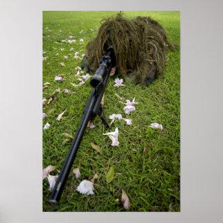 Soldier practices sniper tactics poster