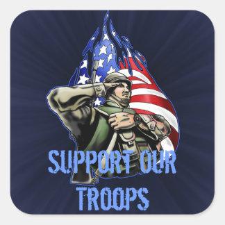 Soldier Salute Design Square Sticker
