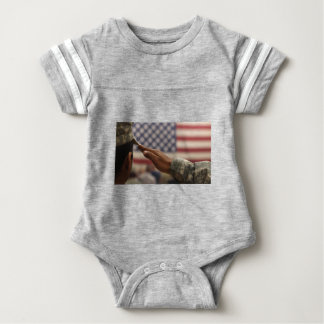 Soldier Salutes The United States Flag Baby Bodysuit