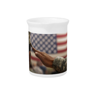 Soldier Salutes The United States Flag Beverage Pitcher