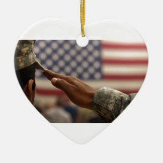 Soldier Salutes The United States Flag Ceramic Heart Ornament