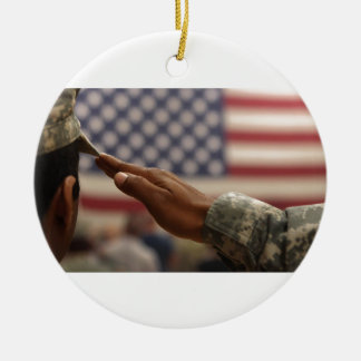 Soldier Salutes The United States Flag Ceramic Ornament