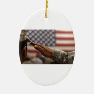 Soldier Salutes The United States Flag Ceramic Oval Ornament