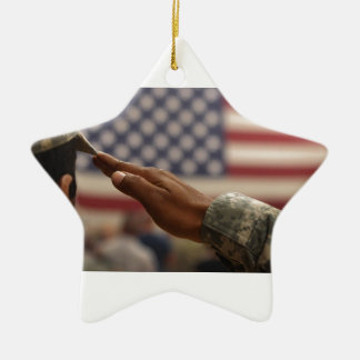 Soldier Salutes The United States Flag Ceramic Star Ornament