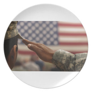 Soldier Salutes The United States Flag Dinner Plates