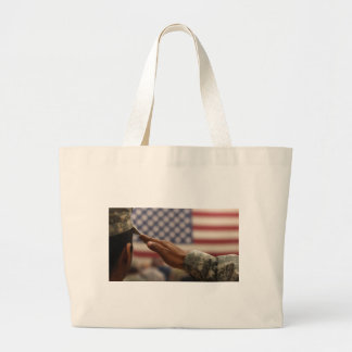 Soldier Salutes The United States Flag Large Tote Bag