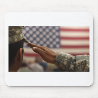 Soldier Salutes The United States Flag Mouse Pad