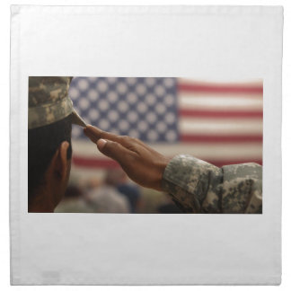 Soldier Salutes The United States Flag Napkin