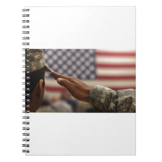 Soldier Salutes The United States Flag Notebook