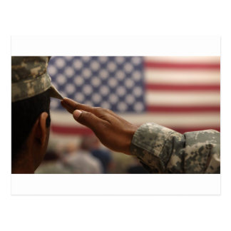Soldier Salutes The United States Flag Postcard