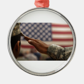 Soldier Salutes The United States Flag Silver-Colored Round Ornament