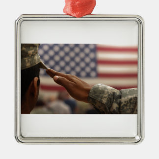 Soldier Salutes The United States Flag Silver-Colored Square Ornament