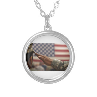 Soldier Salutes The United States Flag Silver Plated Necklace