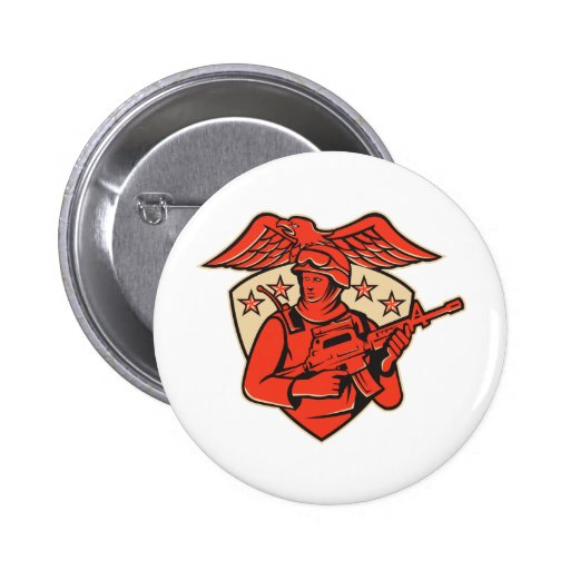 soldier swat policeman rifle eagle shield pin