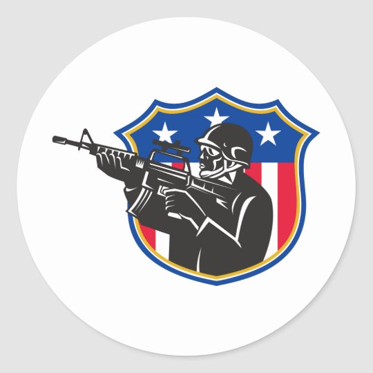 soldier swat policeman rifle shield classic round sticker