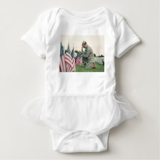 Soldier Visits Graves On Memorial Day Baby Bodysuit