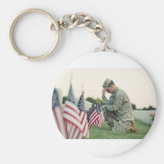 Soldier Visits Graves On Memorial Day Basic Round Button Keychain