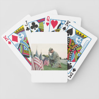 Soldier Visits Graves On Memorial Day Bicycle Playing Cards