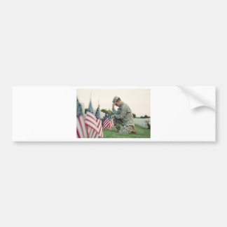 Soldier Visits Graves On Memorial Day Bumper Sticker