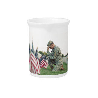 Soldier Visits Graves On Memorial Day Pitcher