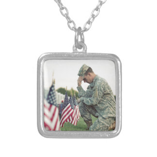 Soldier Visits Graves On Memorial Day Silver Plated Necklace